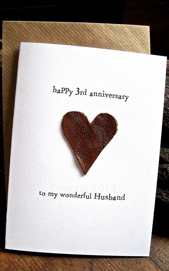 3rd Wedding Anniversary Card Husband Traditional Gift Leather Handmade Keepsake Third Three Years Beige Or