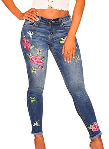 4e48b87b7dce0 Sidefeel Women Rose Embroidered High Waist Ripped Denim Skinny Jeans at  Amazon Women s Jeans store