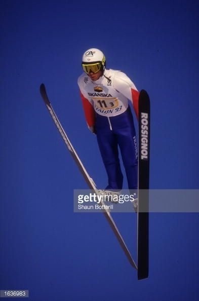 ANDREAS GOLDBERGER OF AUSTRIA IN ACTION IN THE MENS 115KM SKI JUMP COMPETITION DURING THE 1993 WORLD NORDIC SKI CHAMPIONSHIPS IN FALUN SWEDEN...