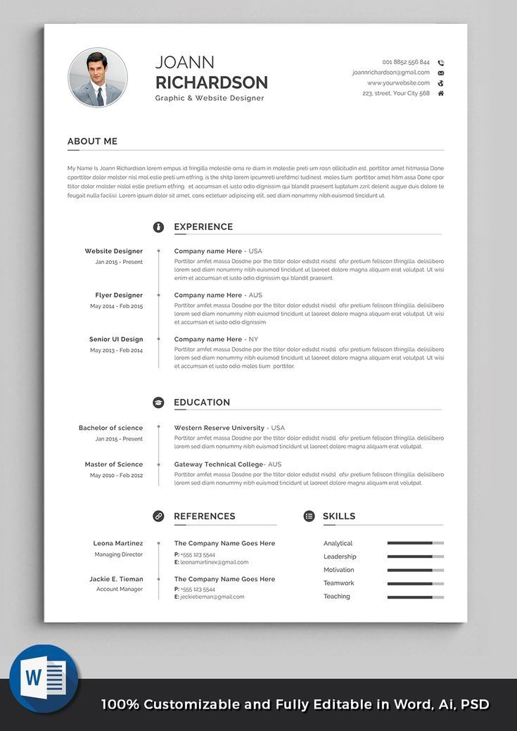 Professional Resume Template Modern And Creative Resume Etsy Resume Words Resume Design Template Resume Template