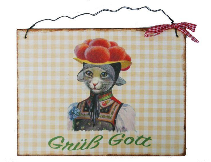 Türschild Grüß Gott von Un-Art-Tick auf DaWanda.com