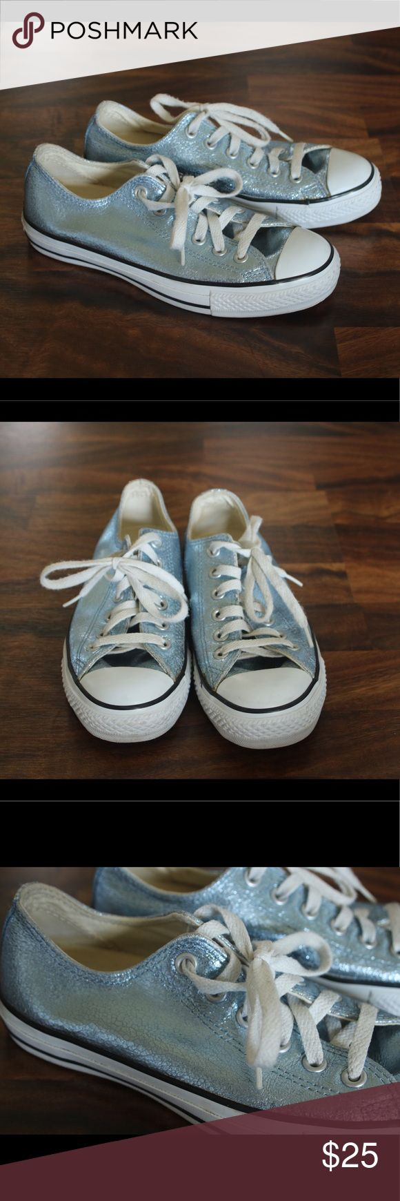 Converse Chuck Taylor Al Star Metallic Blue Converse Chuck Taylor All Star iconic sneaker in a metallic blue color! Definitely light up your outfit! Converse Shoes Sneakers