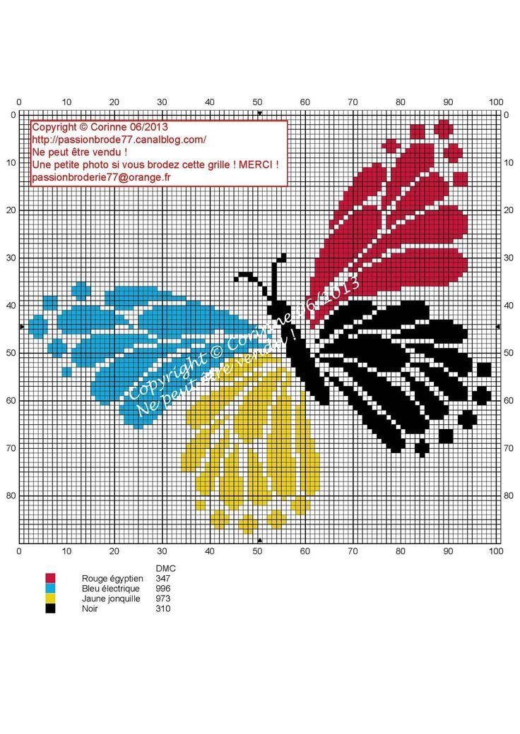 Бабочки 4 Couleurs (4 цвета бабочки), предназначенные Коринн Thulmeaux, Passion Broderie 77 блоггер.