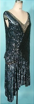 c. 1928 MADE IN FRANCE Flapper Dress of Black Bugle Beads, Black Sequins and Tiny Rhinestones.  Fully beaded.  This dress is incredible!
