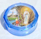 Blue Plastic Rosary Box.