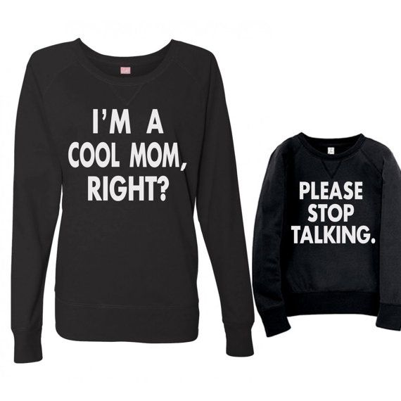 Mommy Me TShirt - Mom & Me Slouchy Pullover Shirts - Mom and Me Lightweight Sweatshirt - Mother Daughter Shirt Set - Funny Mother Daughter