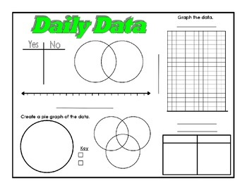 Daily Data Printables - t-charts, Venn diagrams, line plots, bar graphs, pie graphs, and charts. Print or use on interactive whiteboard.