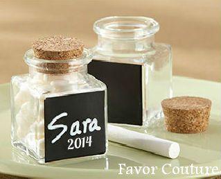 Chalkboard Glass And Cork Favor Jars Set Of 12 Original Unit Price