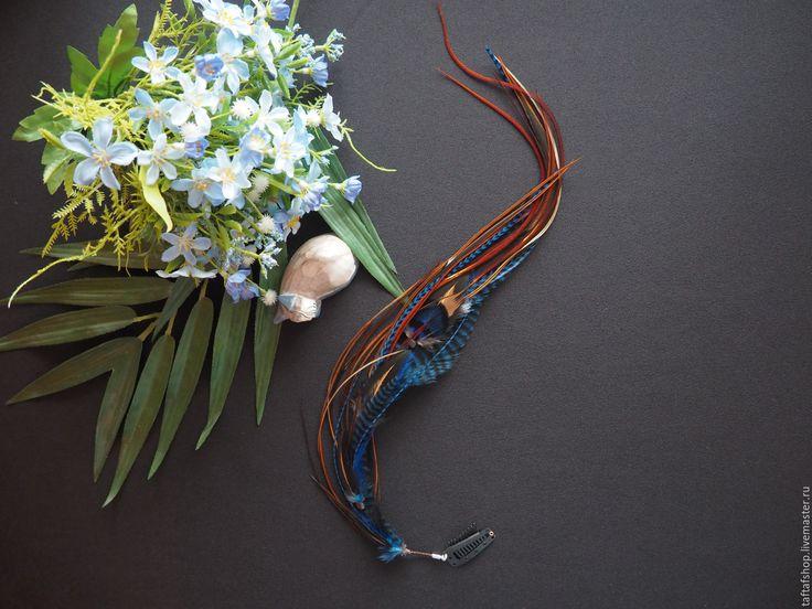 Ниагарский водопад - синие перья для волос на съемной заколке - полосатый, перо, перья