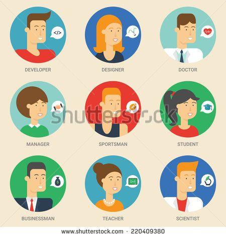 Set of avatars: designer, teacher, scientist, sportsman, businessman, student, developer, manager, doctor. Vector illustration, flat icons. Characters for web