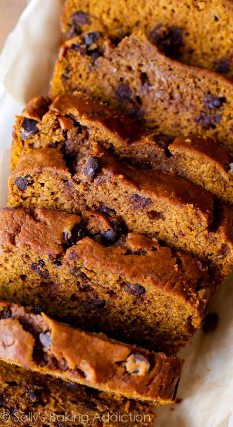 Pumpkin Chocolate Chip BRead by sallysbakingaddiction: Deliciously moist and flavorful pumpkin spice bread with chocolate chips! #Pumpkin_Bread #Chocolate_Chip
