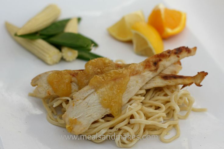 Grilled chicken with a complimentary orange/lemon sticky sauce.  Ideal for family mealtimes.