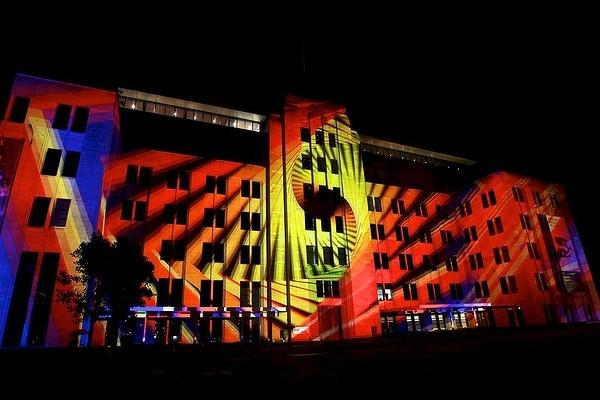 Vivid Light festival at old MCA building at Circular Quay.