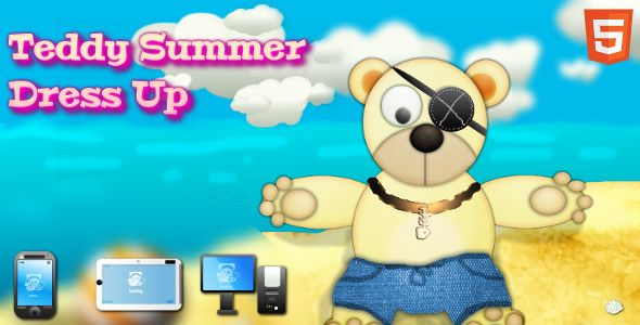 Teddy Summer Dress-up. HTML5 game that works with mobiles and desktop browsers.