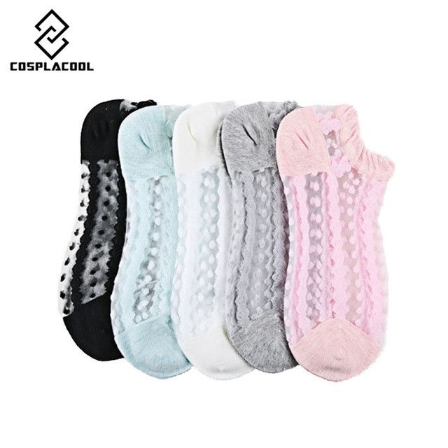 [COSPLACOOL]New 5 pair/of cute Lace boat socks funny socks women calcetines sexy cotton socks korean style 5 color meias sokken
