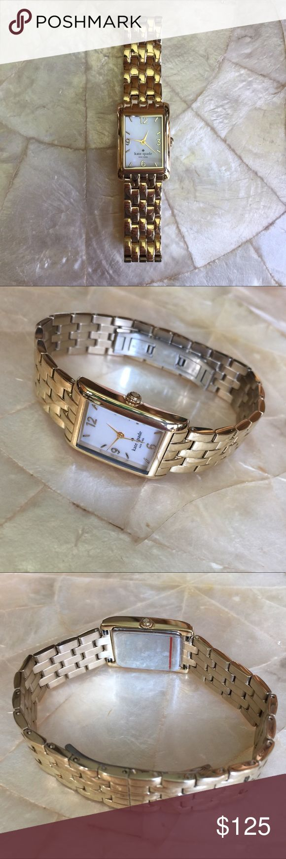 Kate Spade In a New York Minute Watch 1YRU0036 100% authentic Kate Spade In a New York Minute Women's Watch 1YRU0036. Mother of pearl dial. Quartz movement. Case dimensions: 21 mm x 32 mm. Mint condition. kate spade Accessories Watches