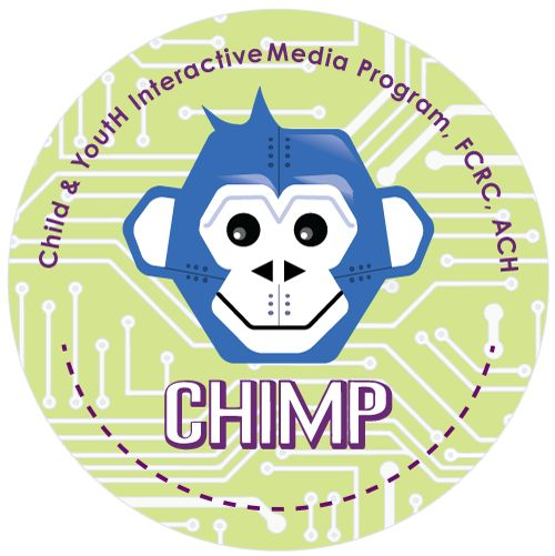 CHIMP button with mascot - for the Child and YoutH Interactive Media Program, Family and Community Resource Centre, Alberta Children's Hospital.