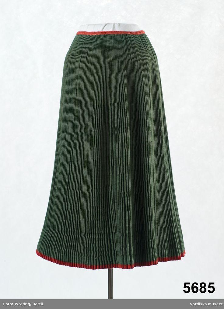 Kjol av grönt halvylle, Ore, Dalarna, Sweden