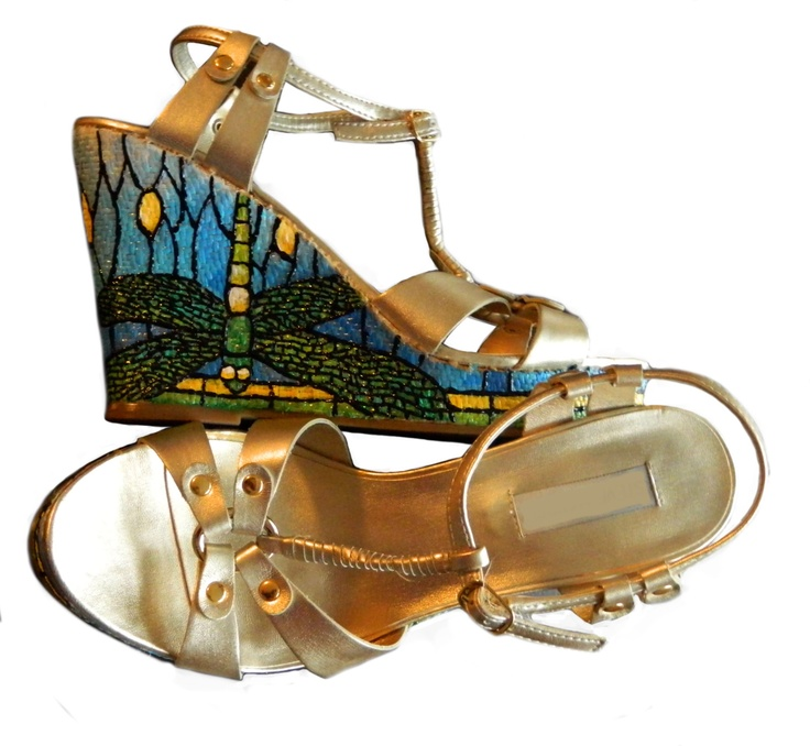 Dragonfly Painted Sandals Tiffany Glass Shoes by CatherineLaPointe