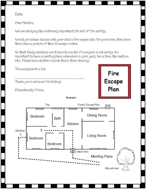 "Fire Safety Escape Plan   Fire safety is one on the most important life skills teachers can share with their students. With that in mind I designed this ""note home"" to families asking them to make a fire escape plan with their child then have them draw a picture of their home escape route complete with their meeting place. If there's not a home-school connection with parental follow through all the teaching at school about fire safety is not as effective as when we have teamwork. To clarify…"
