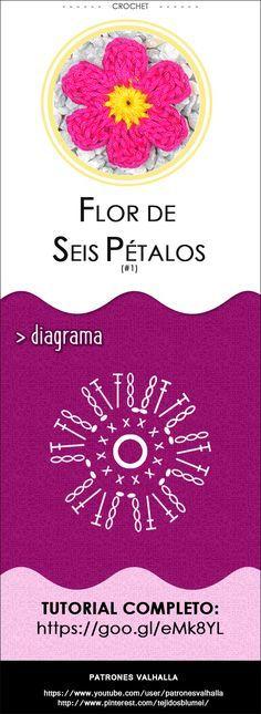 Flor de Seis Pétalos a Crochet #1 | PATRONES VALHALLA // Patrones gratis de ganchillo