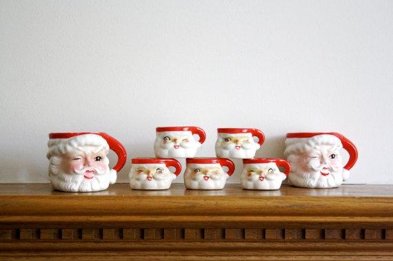 Christmas in July -- Vintage Santa Mugs set of 7 Handpainted Vintage by pulloverthecar, $19.00