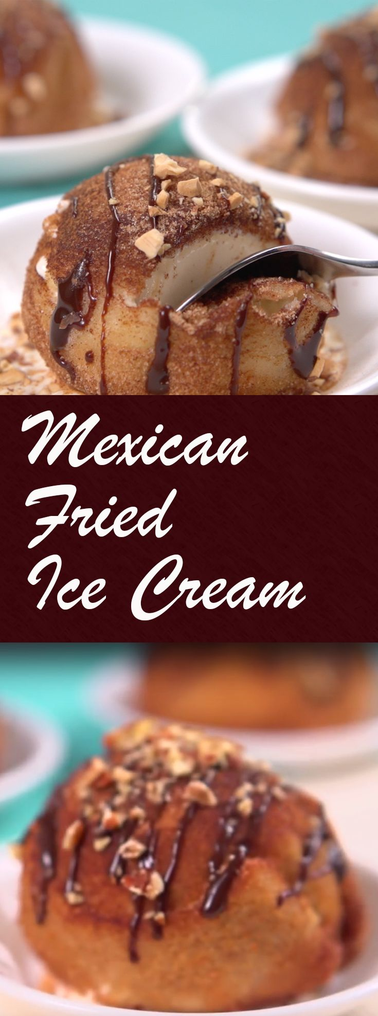 Mexican Fried Ice Cream | Ever tried making fried ice cream? Here's a version with a cinnamon Mexican twist. The final result is sweet and spicy, creamy and crispy, and ridiculously delicious. Check it out! Click for the video and recipe. #sweettreats #desserts