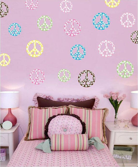 Floral Peace Signs 6  4    3  Wall Decal   Room Decor Art. 15 best Peace room decoration images on Pinterest
