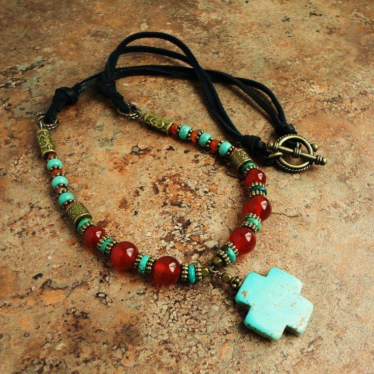Gemstone Swiss Cross Pendant Necklace, Carnelian, Turquoise, Leather, Southwestern.