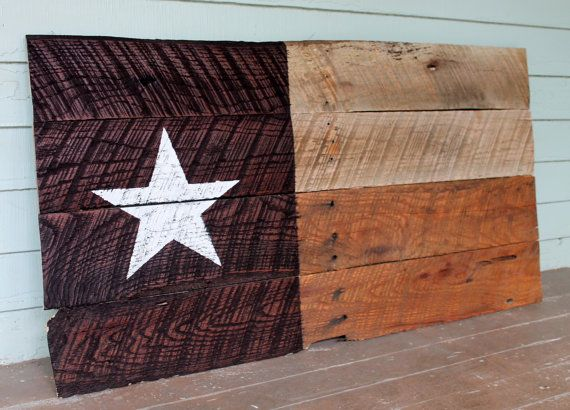 Handmade Rustic Country Reclaimed Wooden Wood Pallet Boards Texas Texan Lone Star Pride Flag Art Artwork Decor Project Idea