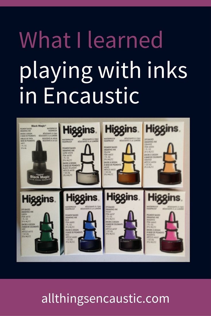 Ink can be used to great effect in encaustic painting.  You can draw or write directly on the wax and either leave it on the final layer of a painting or you can add more layers of encaustic medium on top of the dry ink. Ink, when dry, is permanent.