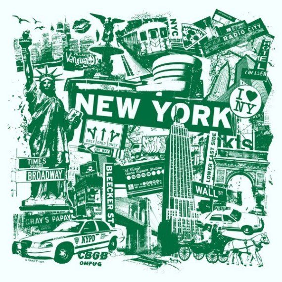 New York City Collage Silk Screen Poster - Etsy