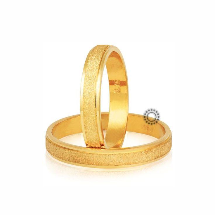 Βέρες γάμου Στεργιάδης S-77-Y | Επίπεδες σαγρέ χρυσές βέρες με ένα διακριτικό πλαίσιο | ΤΣΑΛΔΑΡΗΣ Κόσμημα #βέρες #βερες #γάμου