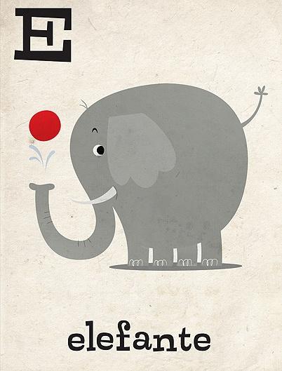 E #elephant #alphabet #illustration #e #elefante