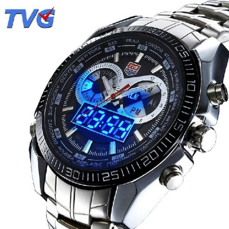 US $51.59 - Fashion Military Blue Binary LED Pointer Watch Men 3AM Waterproof sports Stainless Steel Casual Watch Clock relogio masculino