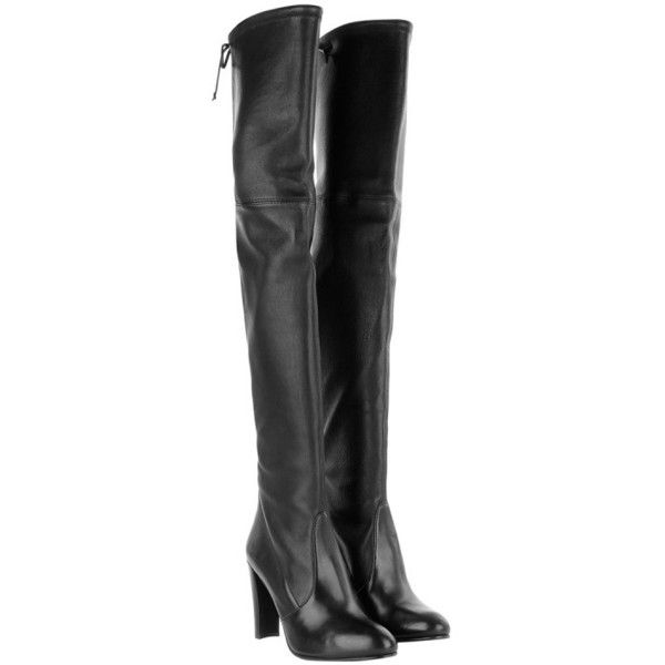 Stuart Weitzman Boots & Booties - Highland Plonge Stretch Nero - in... (£518) ❤ liked on Polyvore featuring shoes, boots, black, over-the-knee boots, black stretch boots, stretch boots, black over-the-knee boots, black thigh high boots and black cap toe boots