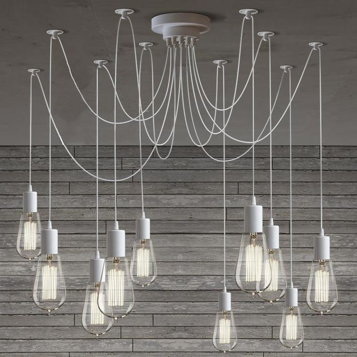 10 Light Cable Chandelier in white #40W #bulb-chandelier #ceiling-light   Tudo & Co   193 AUD