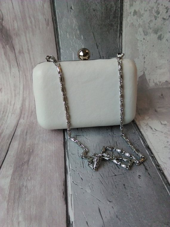 White Leather Minaudiere Clutch bag by KitchenFairiesLeeds on Etsy