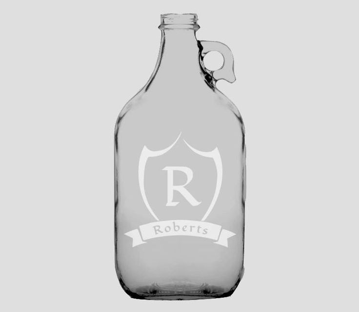 Custom Engraved Growler, Shield and Banner, Etched 64 oz. Growler, Craft Beer Gift, Monogrammed Beer, Custom Growler, Groomsman Gift by GrayFoxTradingCo on Etsy
