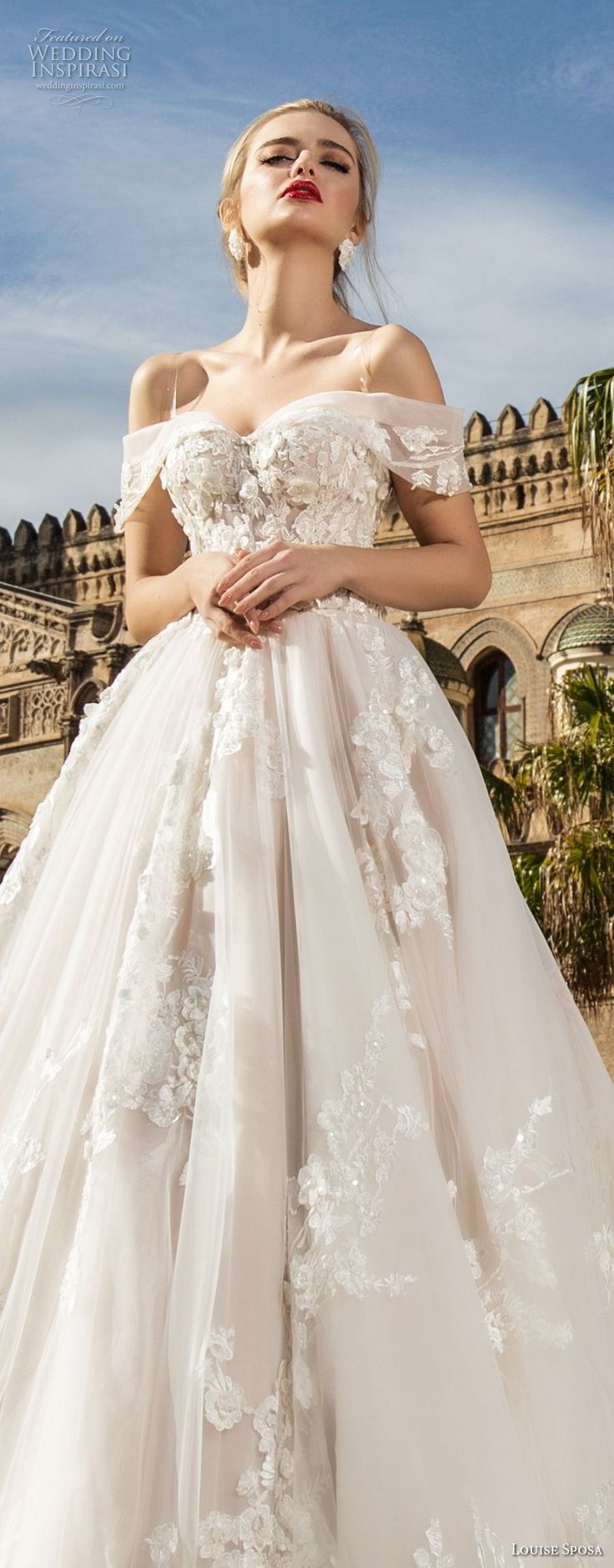 louise sposa 2018 bridal off the shoulder sweetheart neckline heavily embellished bodice romantic princess ball gown a line wedding dress royal train (1) lv