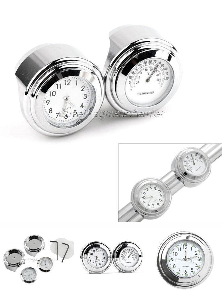 "[Visit to Buy] 7/8"" 1"" 22mm Waterproof Motor White Handlebar Mount Dial Clock Watch+Temp Thermometer for Harley Yamaha MotorBike Accessories #Advertisement"