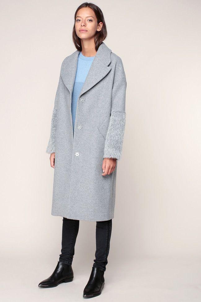 Manteau long gris chiné poignets texturés  - Ikks women