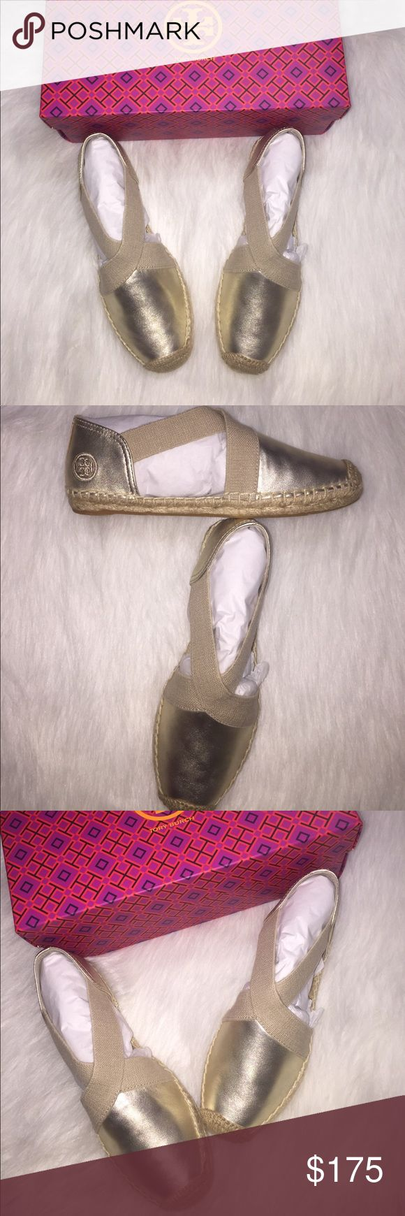 New Tory Burch gold espadrilles Authentic Tory Burch sparkling ✨ ✨✨ gold espadrilles shoes. Criss cross across vamp with sides open. Dust bag and box included. Tory Burch Shoes Espadrilles