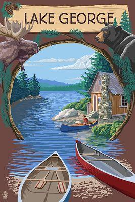 Lake George, New York - Canoe Scene - Lantern Press Poster