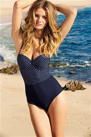 Navy Polka Dot Swimwear: Swimsuit