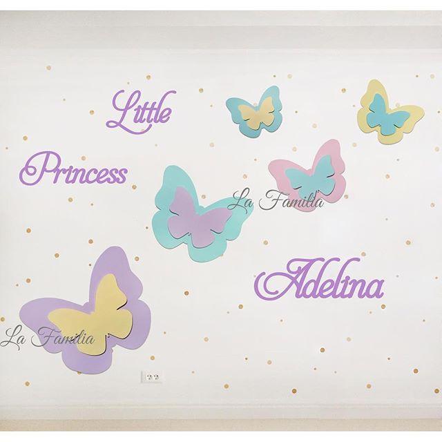 Большая настенная композиция для маленькой принцессы. Цветовая гамма бабочек, текст и цвет надписи подбирается индивидуально под интерьер детской комнаты. Для ориентира размера: большая бабочка на фото 60/50см.  Для заказа пишите нам в whatsapp +7 919 810 07 71 #la_familia_shop #la_familia_walldecor #walldecor