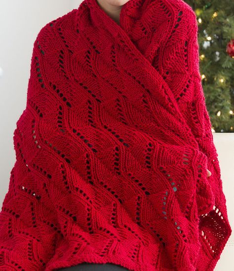 Free Knitting Pattern for Reversible Wave Throw - This gorgeous lace ...