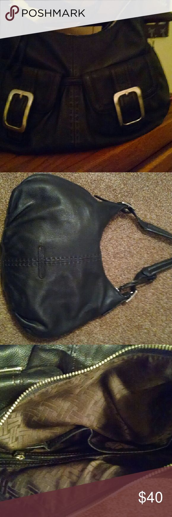 """Black leather buckle bag 2 front outer pockets, zip closure, lined, 2 inner pockets 1 w/zip closure 16""""x10"""", super soft, no blemishes Cole Haan Bags Hobos"""