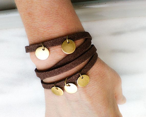 Leather brown wrap bracelet Boho leather by myTotalHandMade