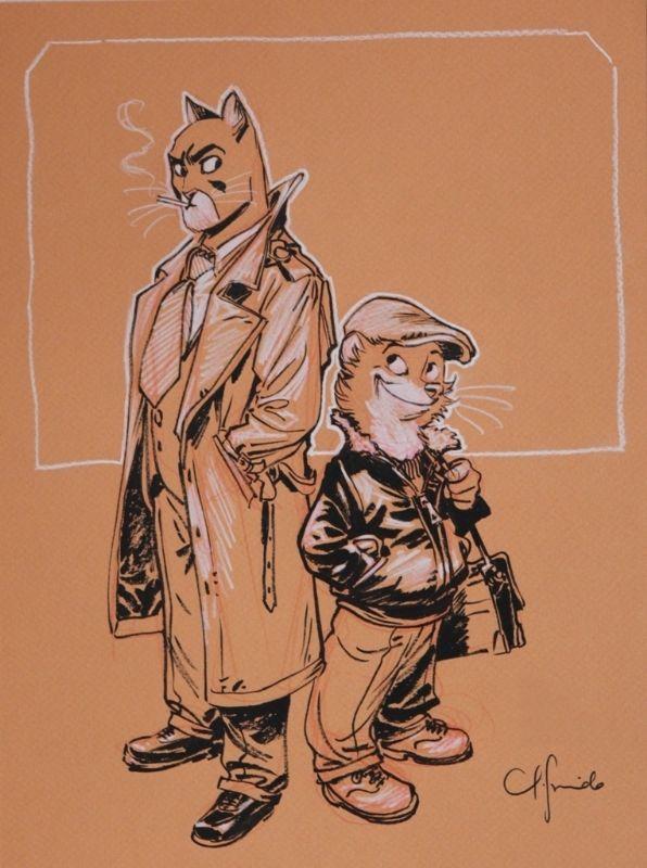Guarnido - Blacksad - Sketch 1 par Juanjo Guarnido - Dédicace Retrouvez toutes les dédicaces de BD exposées sur : http://www.2dgalleries.com